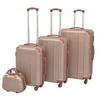 Zestaw walizek na kółkach w kolorze szampańskim 4 szt. VidaXL