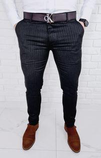 Eleganckie spodnie męskie w jodełkę czarne 77 - 33