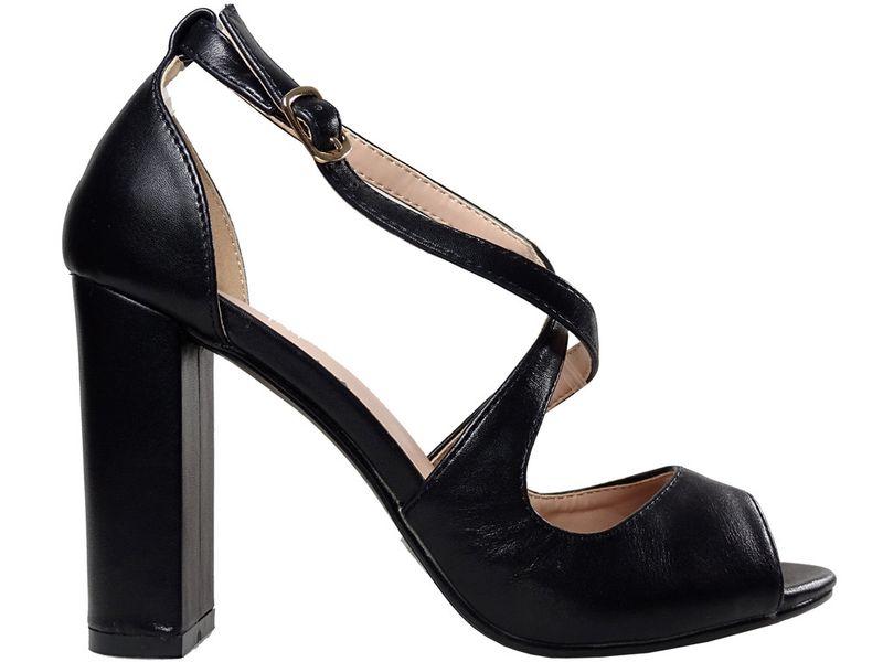 Czarne sandały na słupku eko skóra buty damskie 37 na Arena.pl
