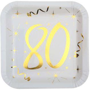 """Talerzyki papierowe """"80 Urodziny - Gold"""", białe, SANTEX, 23 cm, 10 szt"""