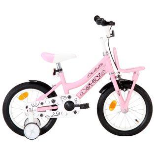 Rower dla dzieci z bagażnikiem, 14 cali, biało-różowy