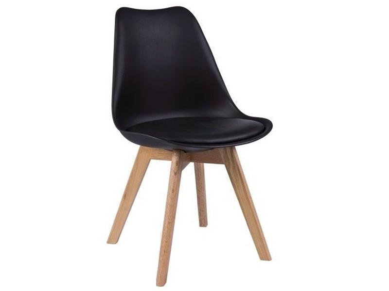 Skandynawskie krzesło CZARNE/BUK KRIS LUGANO TULIP poduszka CL001 dsw zdjęcie 1