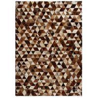 Dywan ze skóry patchwork w trójkąty 80x150cm brązowo-biały VidaXL