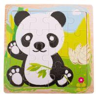 Puzzle Drewniane Układanka Panda 12El. 15X15 Cm