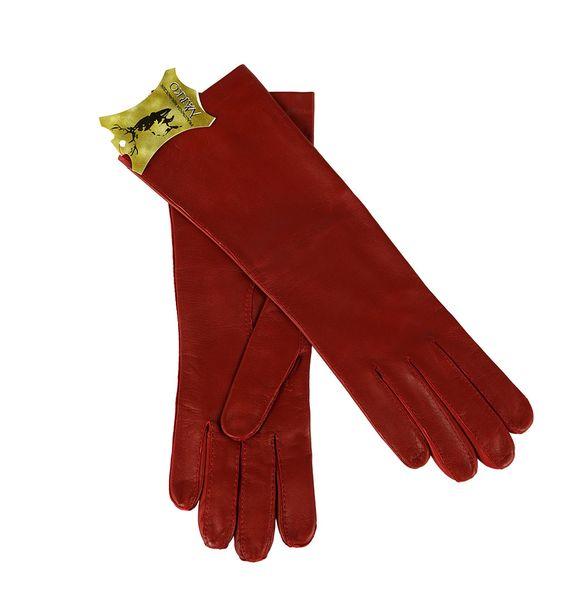 Czerwone rękawiczki ze skóry - długie. zdjęcie 2