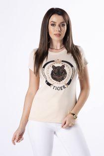 bawełniany t-shirt z cekinową naszywką na biuście