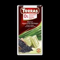 Czekolada biała z algami i czarną solą morską bez cukru 75g TORRAS