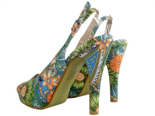 Kolorowe sandałki na szpilce i platformie buty w kwiaty 40 na Arena.pl