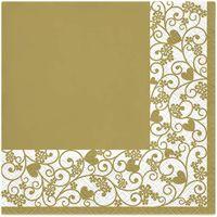SERWETKI papierowe RAMKA złota SERCA kwiaty 20 szt