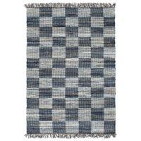 Ręcznie tkany dywanik Chindi, dżins, 80x160 cm, niebieski