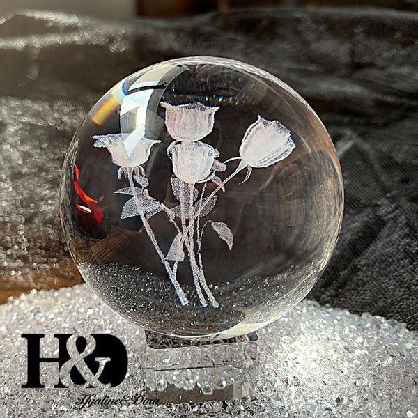 Grawerowane Kryształowe Kule -  6cm 3D -Piękna   Dekoracja na Arena.pl