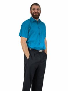 47/48 - 3XL/4XL Turkusowa koszula męska elegancka krótki rękaw duże rozmiary