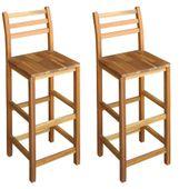 Krzesła barowe, 2 szt., lite drewno akacjowe, 42 x 36 x 110 cm