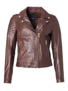 ROCKANDBLUE CINNAMON - Damska kurtka skórzana typu ramoneska w kolorze brązowego siodła 38