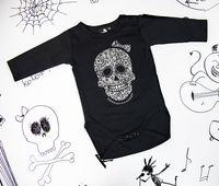 Rockowe czarne body dziecięce z długim rękawem Skull Girl Mia Rock 92