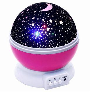 Obrotowy kolorowy projektor nieba gwiazd Lampka nocna RÓŻOWA Y67R