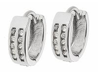 Eleganckie rodowane srebrne kolczyki kółka z cyrkoniami srebro 925 K1093