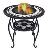 VidaXL Mozaikowe palenisko ze stolikiem, czarno-białe, 68 cm, ceramika