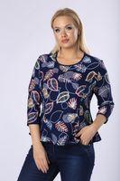 Dopasowana bluzka we wzory z ekspresem na plecach - Granatowy 40