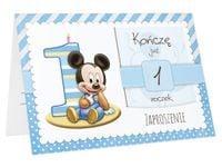 Zaproszenia na PIERWSZE URODZINY roczek dziecka +koperta (ZN-myszka)