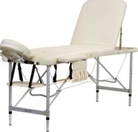Stół, łóżko do masażu 3-segmentowe aluminiowe Kremowe