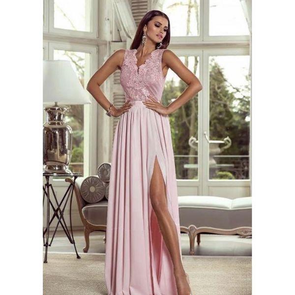 9d41e2d6fd Długa Koronkowa Sukienka Maxi Wesele Suknia Różowa 38 Arenapl