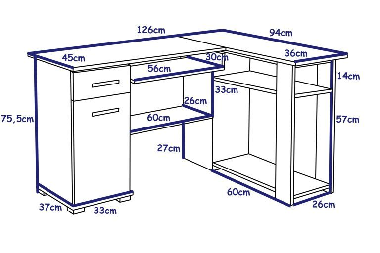 Poważnie biurko narożne ŁUKASZ WENGE komputerowe do biura pokoju szkolne VS14