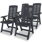 Rozkładane krzesła ogrodowe, 4 szt., plastikowe, antracytowe