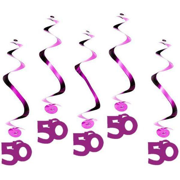 Dekoracja Na 50 Urodziny świderki Wiszące Różowe