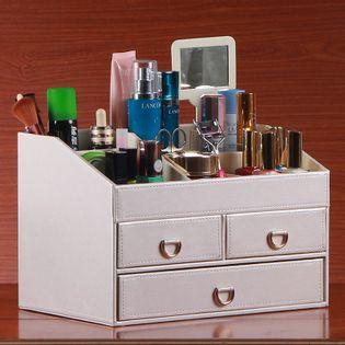 Skórzany Organizer Na Biżuterię - Z Szufladami Biały 30 20 20