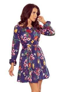 Sukienka z falbanami - Granatowy S
