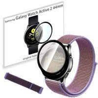 Pasek nylonowy opaska i szkło 3D do Samsung Galaxy Watch Active 2 44mm Lilac