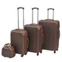 Zestaw walizek na kółkach w kolorze kawy, 4 szt.