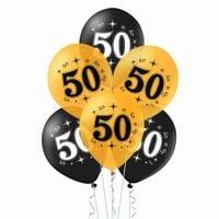 Balony na 50 urodziny czarne i złote, 30 cm 10 szt.