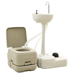 Lumarko Przenośna toaleta turystyczna 10+10 L z umywalką 20 L, szara
