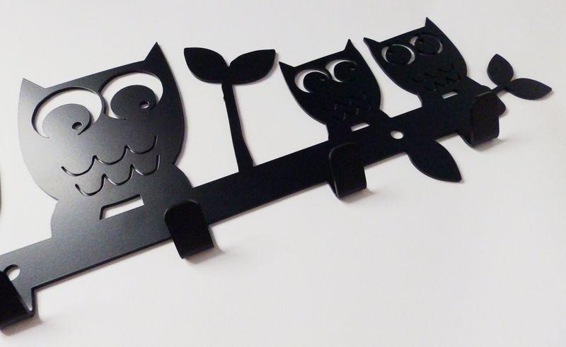 Metalowy wieszak ścienny na ubrania klucze - SOWY zdjęcie 4
