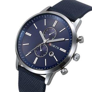 Zegarek męski North 6008 z datownikiem, czarny, niebieski, pasek