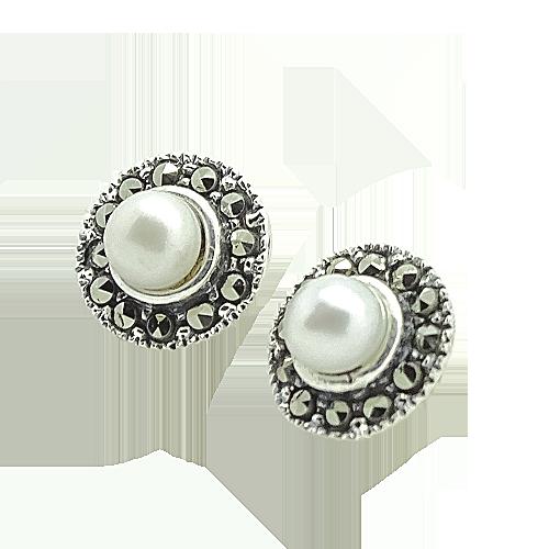 ASTRID Srebrne kolczyki z perła i markazytami okrągłe małe sztyft zdjęcie 3