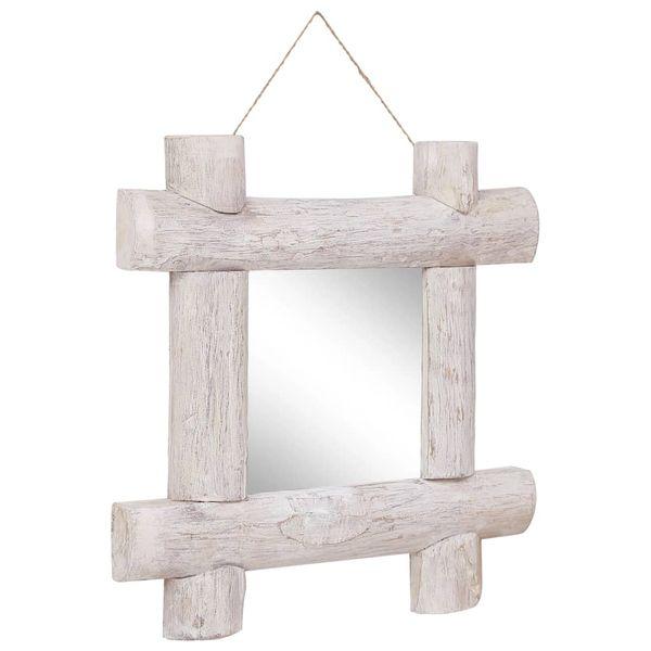 Lustro W Ramie Z Belek, Białe, 50X50 Cm, Lite Drewno Z Odzysku zdjęcie 2