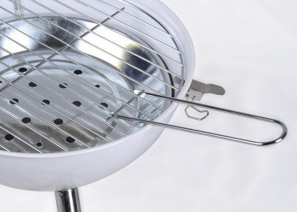 Grill ogrodowy węglowy okrągły, mini grill bbq kolor biały zdjęcie 5