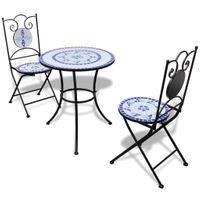 Stolik i 2 krzesła z mozaiką niebiesko-białą