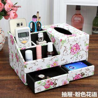 Skórzany  Organizer Kosmetyczny - Na Biżuterię Z Szufladami pink flowers M