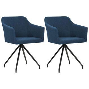 Krzesła Do Jadalni, 2 Szt., Obrotowe, Niebieskie, Materiałowe