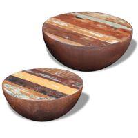 Dwa stoliki kawowe na kształt misy z drewna odzyskanego