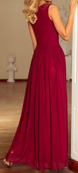 Sukienka Maxi Na Przyjęcie Wesele Bal Bordowa Na Ramiączka 166-3 L 40 zdjęcie 12