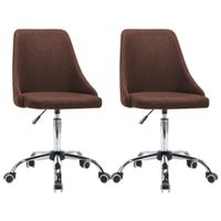 Krzesła biurowe na kółkach, 2 szt., tkanina, brązowe