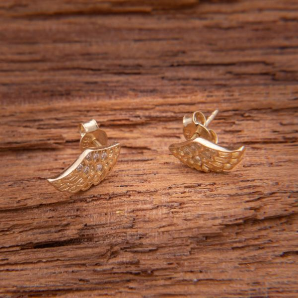Złote Kolczyki Sztyfty Skrzydła Anioła Cyrkonie zdjęcie 3