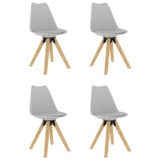 Krzesła stołowe, 4 szt., szare, PP i lite drewno bukowe