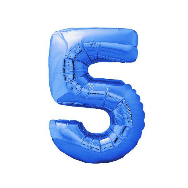 983ef1db42bae2 Balon foliowy cyfra 5 niebieska na hel 100cm Kolor - Niebieski zdjęcie 1
