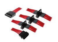 Rozgałęźnik BitFenix Molex na 4x SATA 20cm - opływowy czerwono czarny